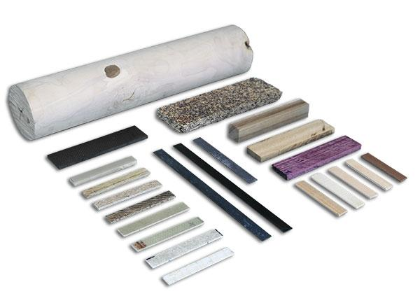 Samples of composites, wood and wood products